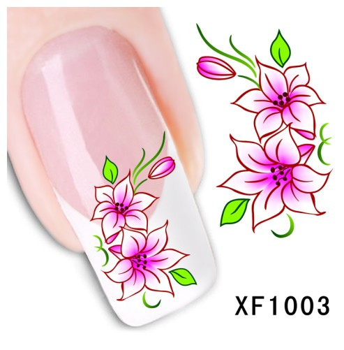 1 sheet Beauty Fashion Nail Wraps Water Transfer Sticker Decal Flower Design Nails Decoration DIY Manicure Tools #XF1003(China (Mainland))