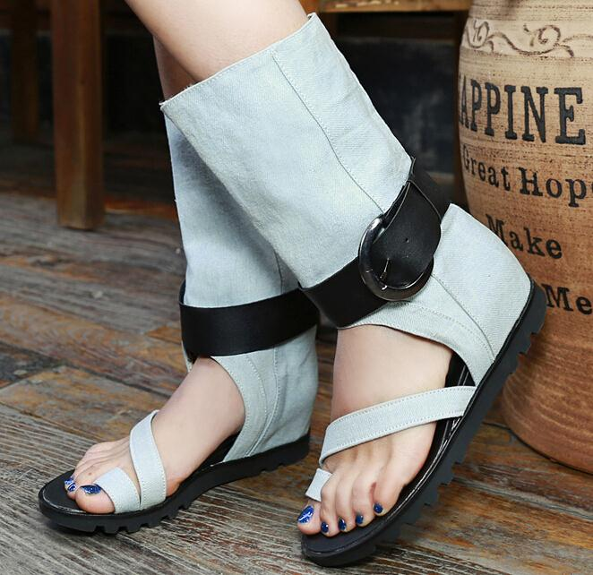 ENMAYER Fashion Knee High boots Gladiator hollow out Sandals Women Motorcycle Boots Genuine Leather PU Ladies Flats summer boots(China (Mainland))