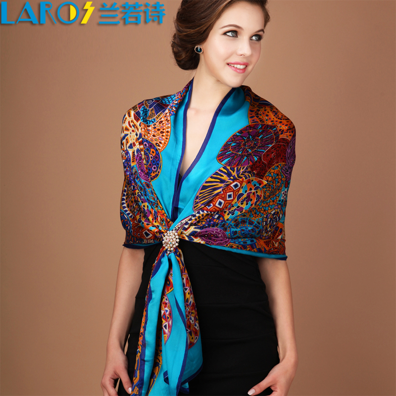 High quality silk scarf Top Grade 100% mulberry silk female long design cape spring and autumn scarf shawl wrap(China (Mainland))