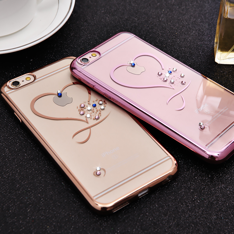 Newest Luxury Rhinestone Case For iphone 6/6s Soft TPU Shell Crystal Diamond Fashion Gold Rosegold Cover For iphone 6 6S Plus(China (Mainland))