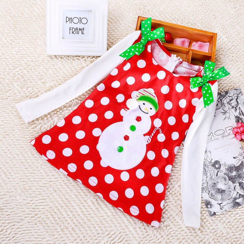 New 2016 Baby Girl Christmas Dress Girl's Short Sleeve Merry Christmas Dress Kids Cotton Dot Casual Dress Girls Tutu Dress(China (Mainland))