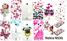Fashion Patterns Soft Clear Cases Slim TPU Gel Silicon Phone Case for Nokia N535 Ultra Thin Transparent Cover Bags