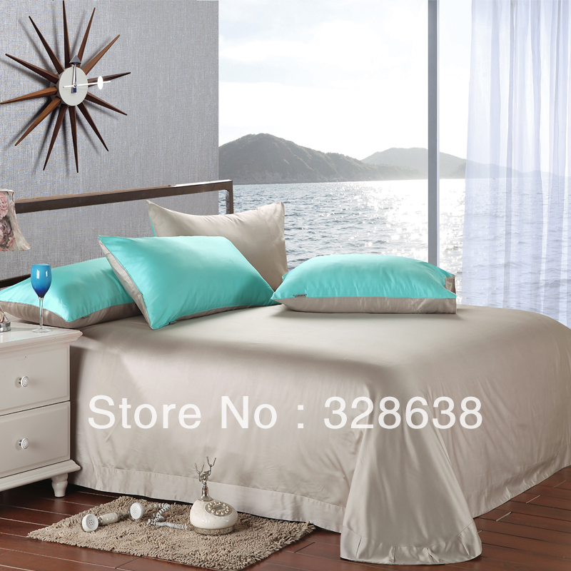 Double faced tencel bedroom sets turquoise silver gray - Turquoise and gray bedroom ...