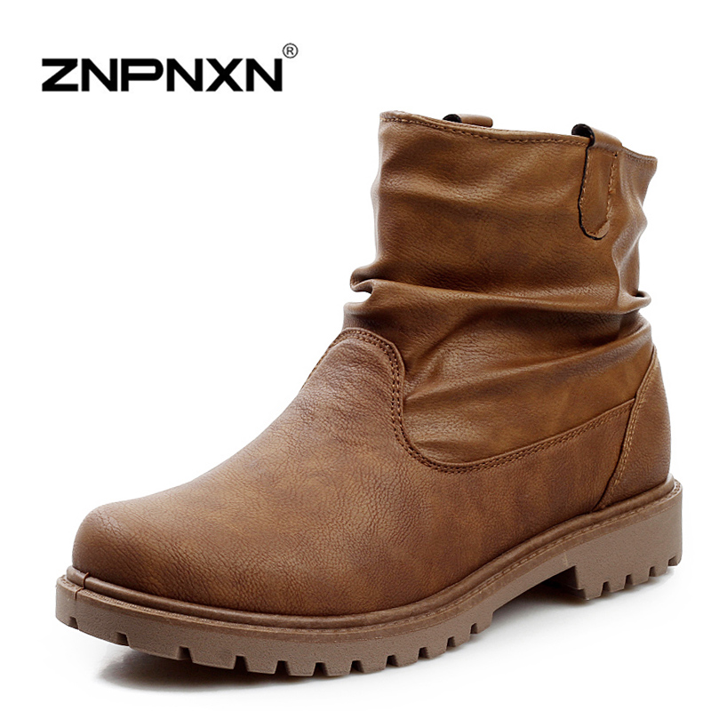 New Fashion Winter Casual Shoes Men Boots Soft Leather Cowboy Style Ankle Boots Botas Hombre<br><br>Aliexpress