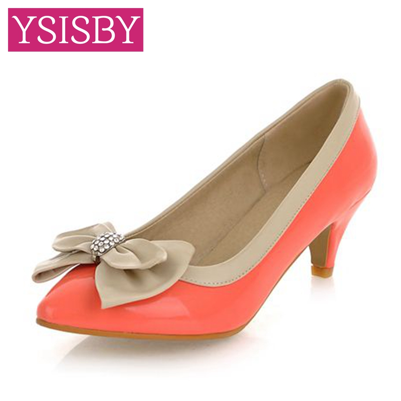 Big size 34-43 spring shoes cute candy color diamond comfort Bowtie Pointed Toe Heel height 5cm Pink Sky Blue Navy Blue(China (Mainland))