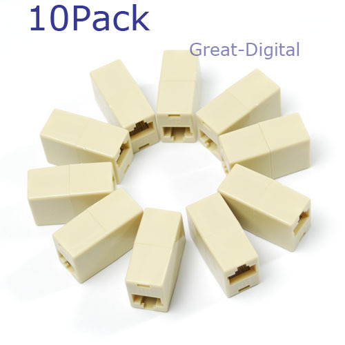 10x RJ45 Ethernet Network Net LAN Plug Cable Join Extension Adapter Connector