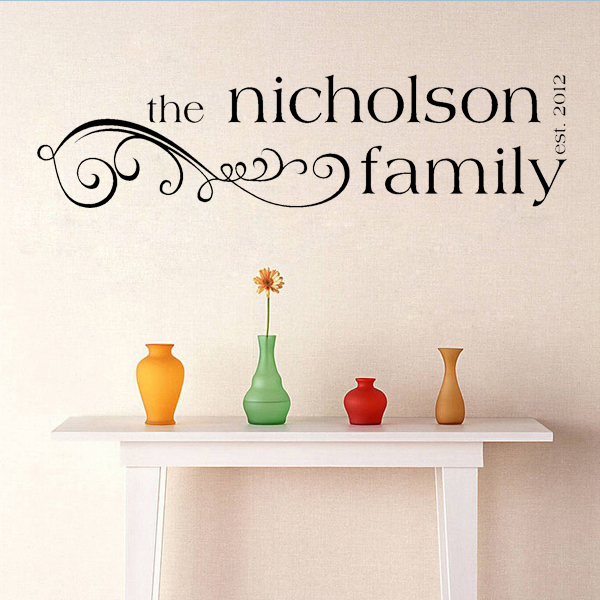 Personalized Custom Europe Style Family name Wall Stickers Wall Say Quote Word Lettering Art Vinyl wall decals Home Decor(China (Mainland))