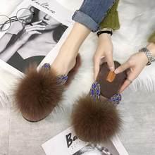 Luxury Brown Black White Rabbits Fur Slippers Women Round Toe Slip On Long Plush Lining Slides Outdoor Rhinestone Ear Shoes(China)