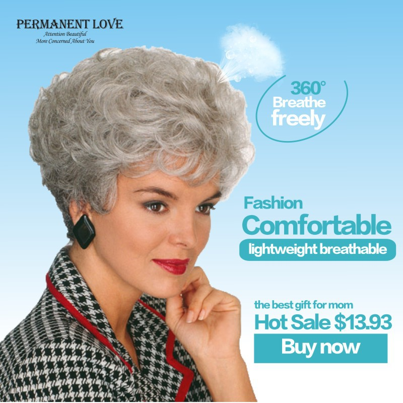... gray Wig fashion grey hairstyles hair wigs for old Women Elderly
