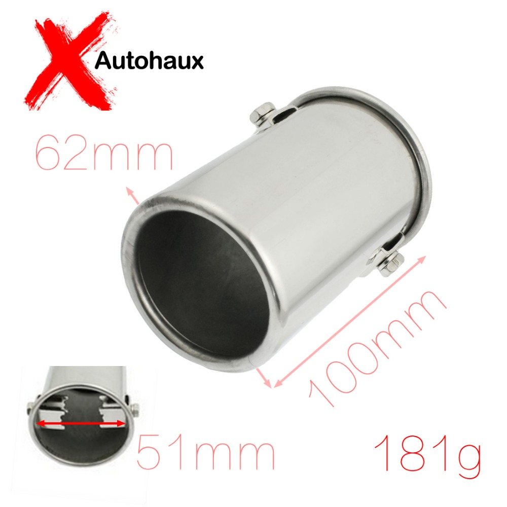 Fit Hole Diameter 50mm/ 2.00 inches Stainless Steel Auto Car Exhaust Pipe Silencer Muffler Tip 51mm x 100mm Discount 50(China (Mainland))