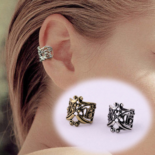 1 Pcs Vintage Antique Ear Cuff Punk Small Flower Hollow Charm Clip Earrings Wholesale Cheap Jewelry For Women Men 2015 PD58(China (Mainland))