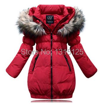 gratis verzending 2015 nieuwe mode kleding bont capuchon rits eendendons kinderen winter uitloper jas meisjes jassen voor kinderen(China (Mainland))