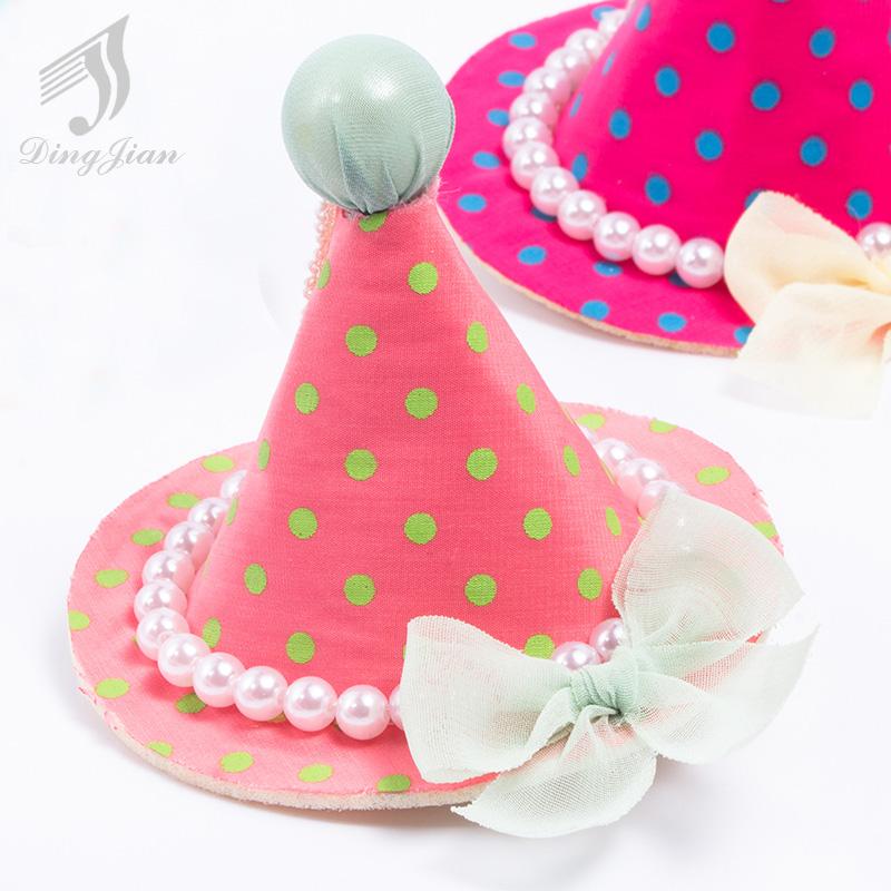 2016 Hot Sale Dot Hat Pearl Hair Barrettes Children Headwear Baby Girls Accessories baby girl headbands A01172(China (Mainland))