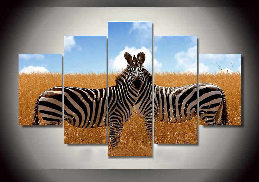 Modern Printed On Canvas Zebra Painting Wall Art Picures for Home Decor living room Pictures prints on Canvas Unframed 5 Pieces(China (Mainland))