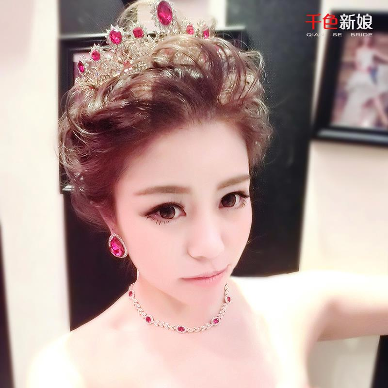 Europe retro temperament bride crown bride big red diamond wedding gown Headwear Hair Accessories rr78<br><br>Aliexpress