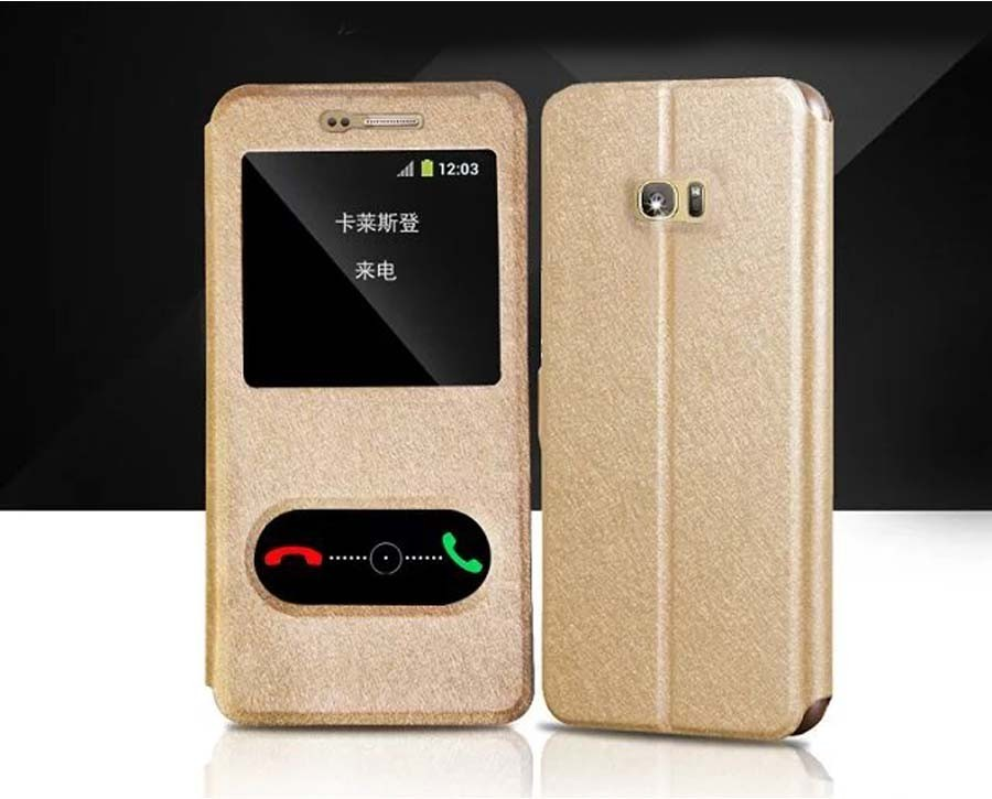 Brand New Luxury Flip Silk Leather Phone Case For Samsung Galaxy S7 S 7 edge Fashion Cover Free Shipping