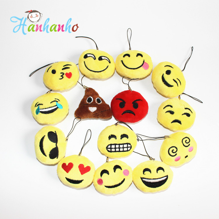 50pcs/lot 5cm Novelty Emoji Small Pendant Smiley Emoticon Soft Plush Toys Key&Bag Chain Phone Strap(China (Mainland))