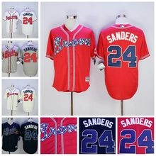 2016 Atlanta Braves Jerseys 24 Deion Sanders White Gray Blue Red Throwback Cool Base Authentic Baseball Jerseys Cheap Embroidery(China (Mainland))