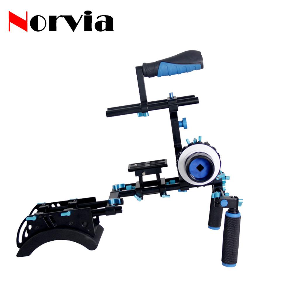 Norvia T6 Double barreled simple version dslr video rig camera support video stabilizer Follow Focus C Shape Arm Shoulder Mount(China (Mainland))