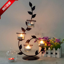 Romantic Candlelight Dinner, Wrought Iron Candlestick Roses  Candle Holders(China (Mainland))