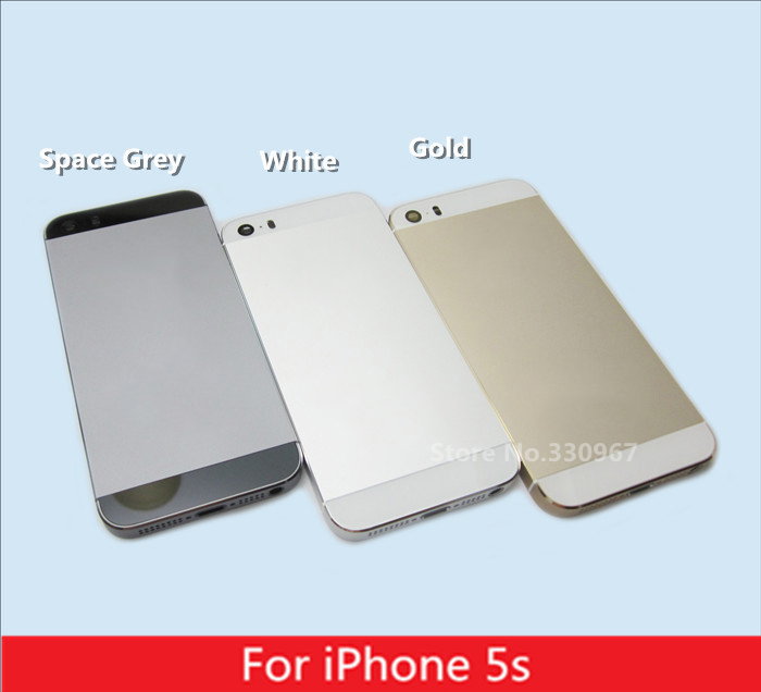 White Gold Grey back cover for iPhone 5s housing battery cover with sim card tray buttons free shipping(China (Mainland))