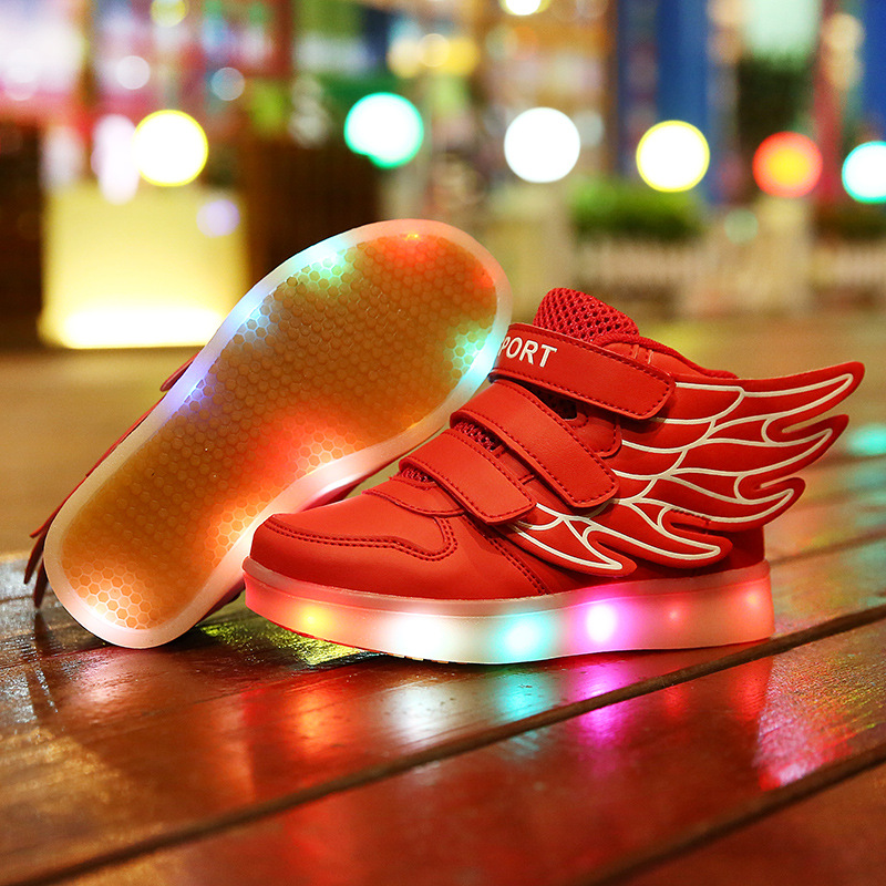 Фотография Children LED shoes wing lamp luminous shoes fashion leisure brand sports shoes high quality USB Charging scarpe bambini