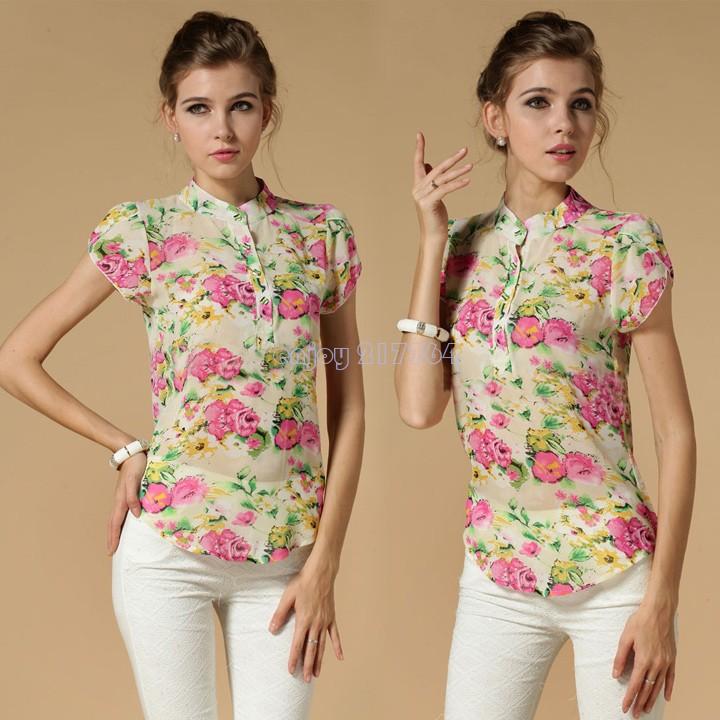 2015 New summer Short Sleeve Blouse women Slim Ladies Floral Printed Chiffon Shirt Plus Size 3 Colors B9 - Enjoy Technology store