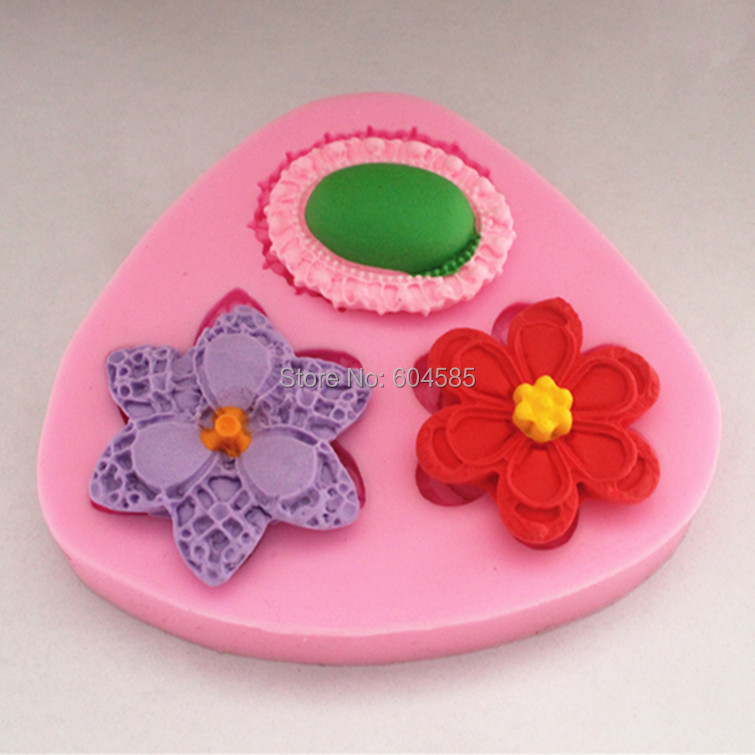 3 Mini Beautiful Different Flowers Cake Decorating Mold Chocolate Candy Jello 3d Mould(China (Mainland))