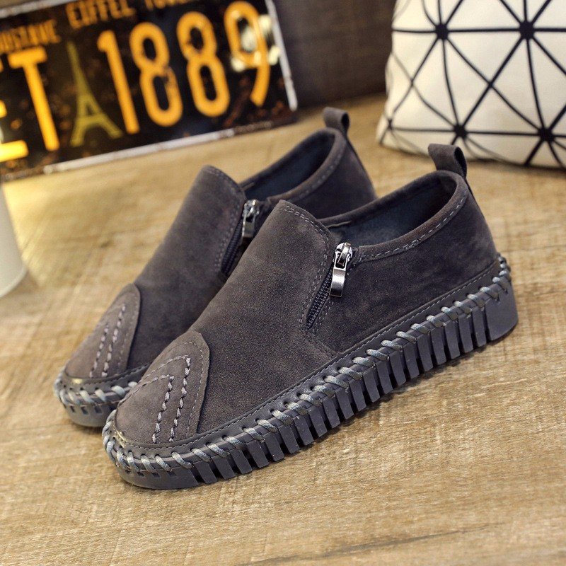 2016 New Spring Fall Fashion Flat Women Loafers Shoes Platform A Pedal Lazy Side Zipper Female Single Shoes Black Gray Z3.5
