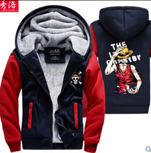 New Winter Warm Hoodie Japan Anime One Piece Hooded Coat Luffy Thick Zipper Jacket Sweatshirt For Men Women 21 Design(China (Mainland))