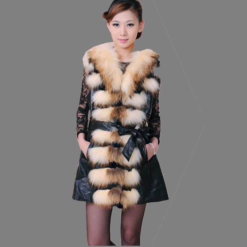 New Arrival Low Price Raccoon Genuine Leather Fur Vest Wool Jackets Coat Women Long Fur Waistcoat Winter Warm Plus Size BF-V0164(China (Mainland))