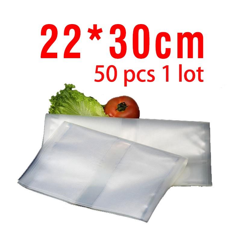 Free shipping 22cm*30cm 50pcs 1 lot vacuum bags for food Storage FOR Vacuum Sealer Saver packaging bags vacuum bag
