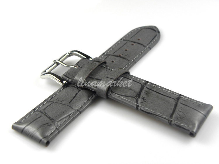 24mm (Buckle 22mm) New High Quality Grey Crocodile Grain Genuine Leather Watch Band Strap B1104Gray(China (Mainland))