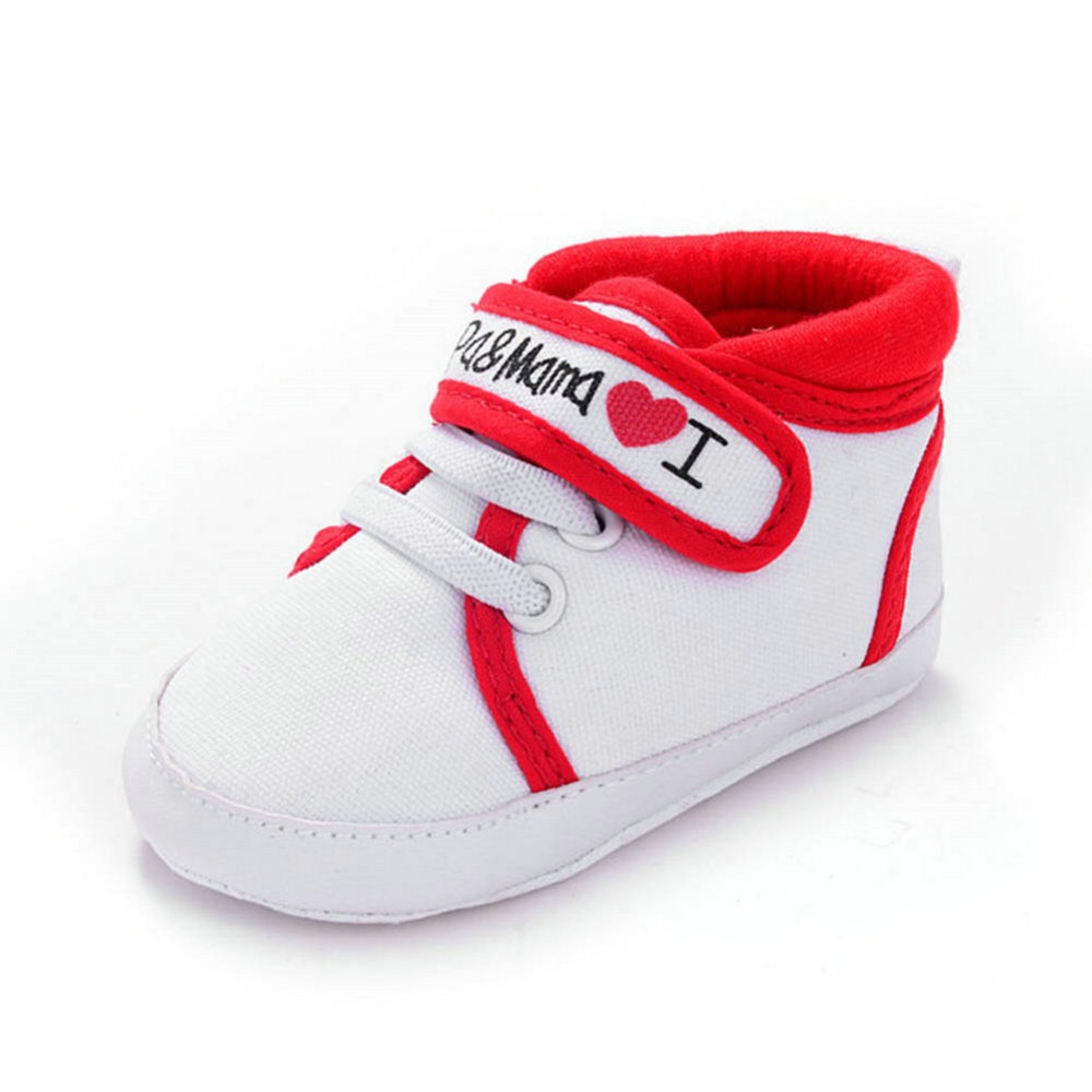Cute New Cute Heart-shaped I Love Mum And Dad Lovely Baby Shoes Girl Soft Bottom Footwear Newborn Baby Shoes