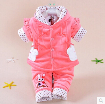 Free shipping Kids cute bunny bow cardigan sweater female baby cotton two-piece suit Tong(China (Mainland))