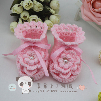 Handmade cute knitted yarn baby toddler shoes boots adjustable baby soft sole shoes children shoes