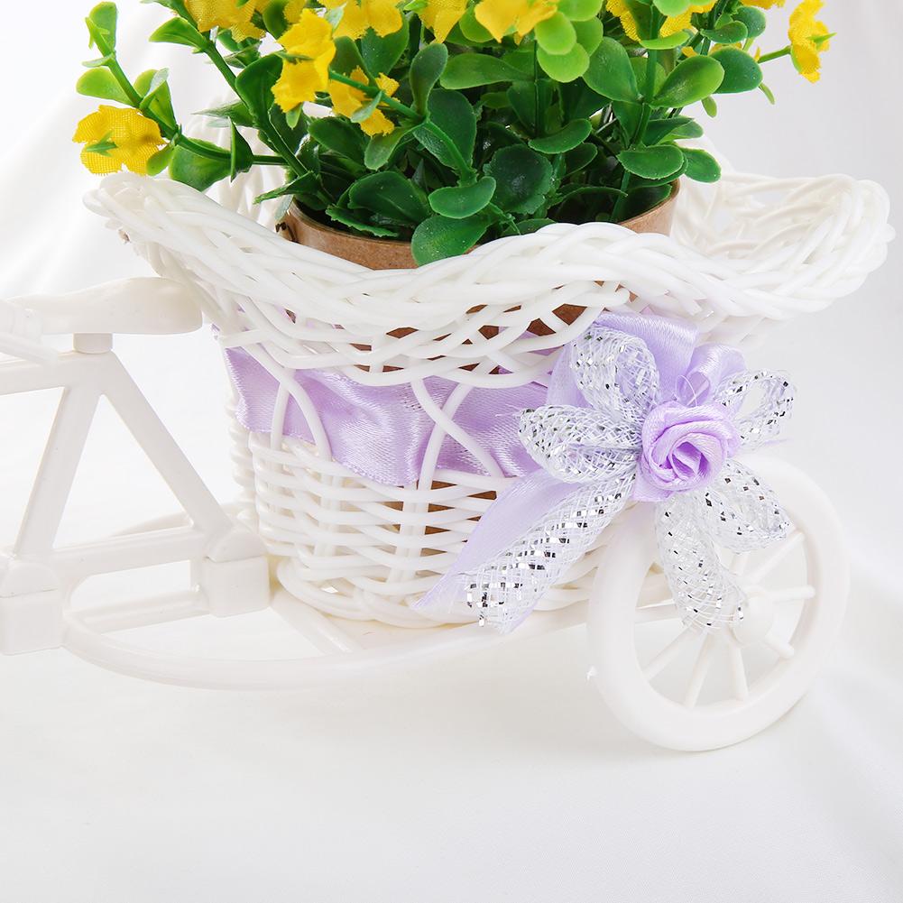 Rattan Tricycle Bike Basket Garden Wedding Party Office Vase Decoration