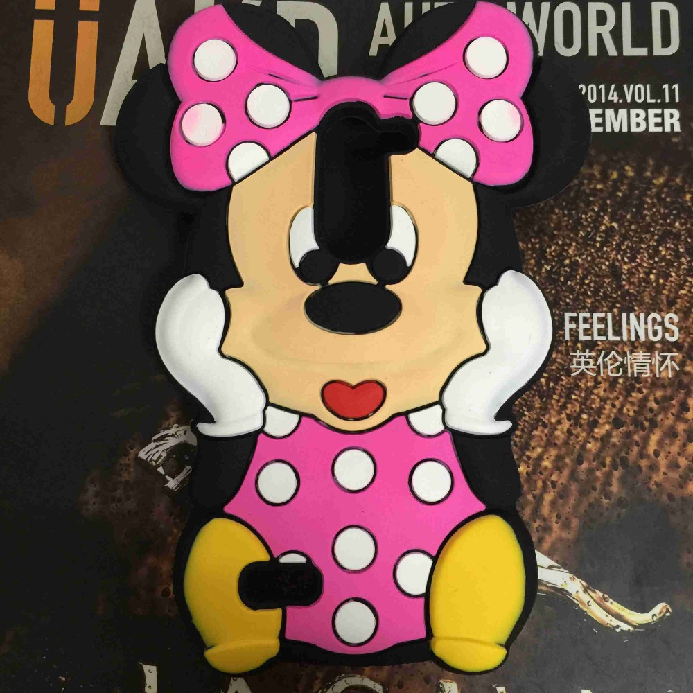 3D Red Bow Cartoon Minnie Mouse Silicone Back Cover Case for LG G2 mini D618 Free Shipping 10pcs/lot