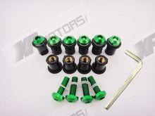 10 Pieces Windscreen Bolts Kit Screw Wellnut Kawasaki Z750/S Z1000 ER-6N ER-6F ER-5 Green Color - A&M Kebull's Parts store