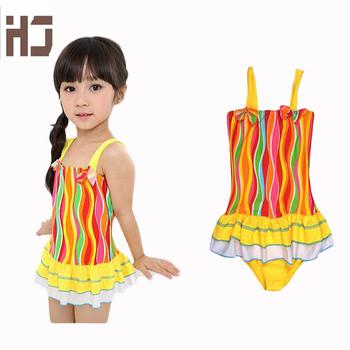 2016 girl swimsuit baby girls swimwear kids swimmer clothes striped pattern swimming One Pieces summer style girl Bikini WD3241