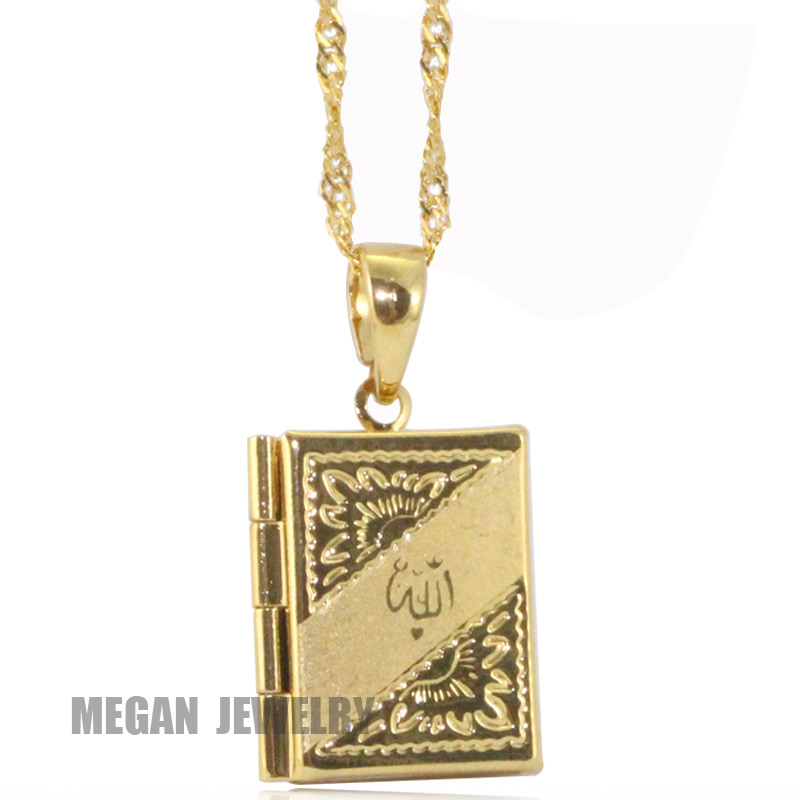 18 k gold plated islam Allah Muslim quran books pendant & necklace, charm Islam Gift & Jewelry(China (Mainland))