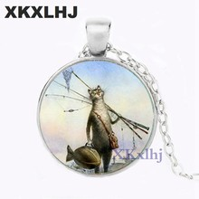 XKXLHJ Creative Fun Cat Fish Best Friends Necklace Handmade Photo Glass Dome Metal Necklace Cute Cartoon Animal Couple Necklace(China)
