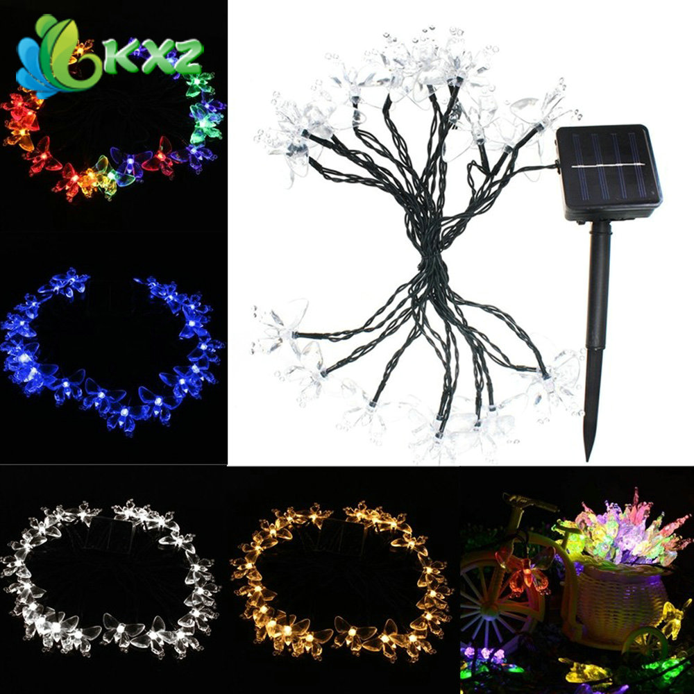 4.8M 20 LED Solar Waterproof Butterfly Fairy Light String Outdoor Xmas Party Garden Decor(China (Mainland))