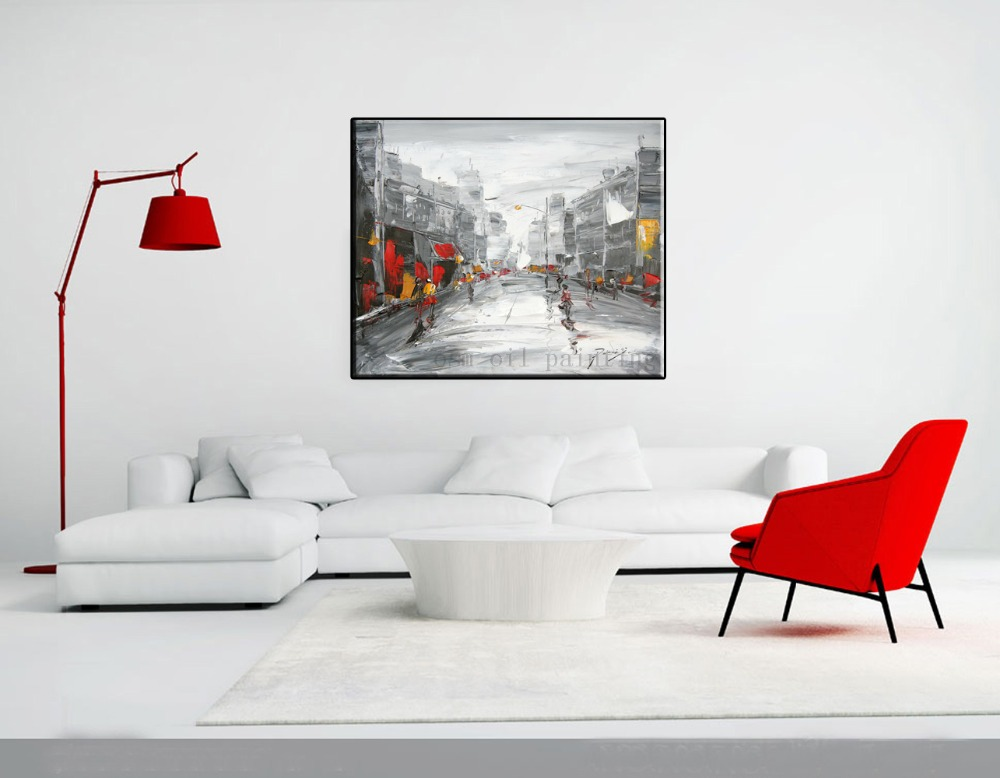 Buy Hand Painted Black and White Painting Fine Wall Artwork Decorative Handmade Abstract Streetscape Knife Oil Painting on Canvas cheap