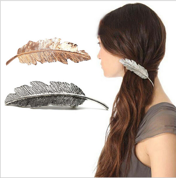1 PC Women Lady Girl Fashion Metal Leaf Shape Hair Clip Crystal Pearl Hairpin Barrette Hair Accessories(China (Mainland))