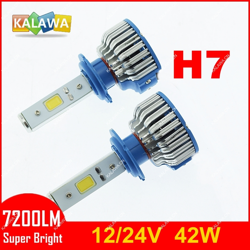 7200LM!! H7 42W 4th Generation Auto car Led headlight fog lamp Double COB chip 360 degree super bright 5500K FREESHIPPING GGG - KALAWA store