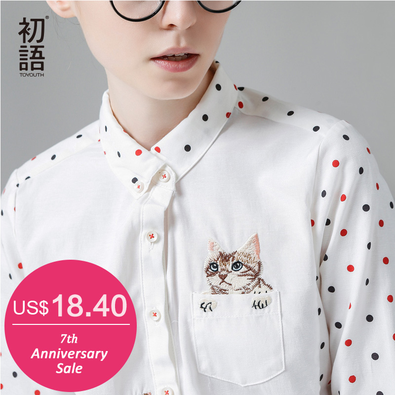 Toyouth New Arrival Winter Shirt Turn-Down Collar Ladies Blouses Long-Sleeve Shirt Female Polka Dot With Cat Embroidery(China (Mainland))