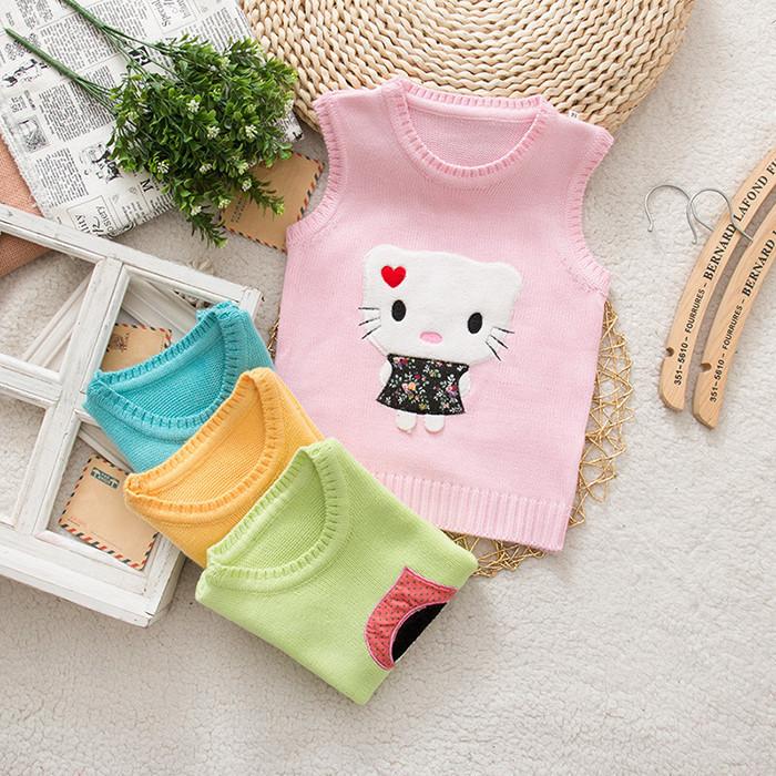 New Hot Kids Vest Sweater Baby Boys and Girls Sweater Children Autumn Spring Sweater Kids Unisex V-neck Hello Kitty Vest Sweater(China (Mainland))