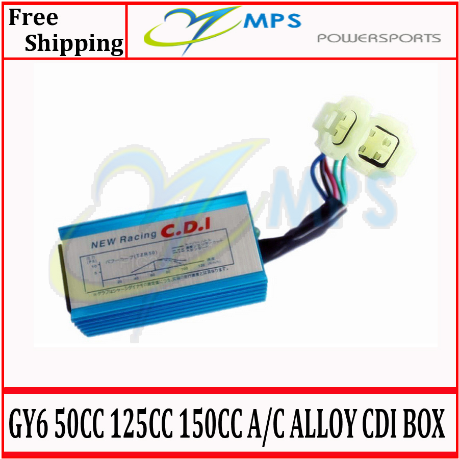 GY6 High performance 6 Pin 4+2 Pin AC Alloy CDI Box for 50cc 125cc 150cc engine type chinese moped scooters(China (Mainland))