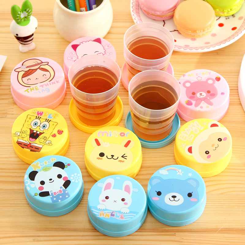 Summer Hot 5pcs/lot Creative Cartoon Travel Folding Cup Portable Kids Water Bottle Gift for Children Free Shopping(China (Mainland))